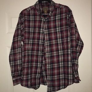 Red and black flannel button down size L